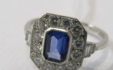 18ct WHITE GOLD ART DECO DESIGN SAPPHIRE & DIAMOND RING, pri...
