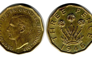 1946 brass threepence, ABU, extremely rare in this high grad...