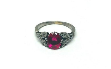 1950's Platinum Ruby Rose Cut Diamond Ring Flower