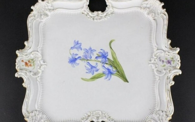 19Th C..Meissen German Floral Porcelain Serving Tray