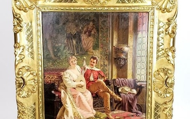 "19th C. F. Soulacroix Signed Oil on Canvas ""Love Song"""