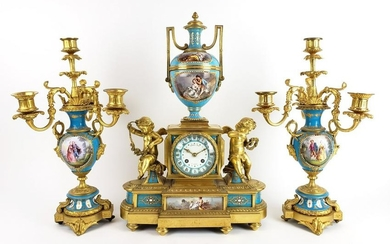 19th C. French Sevres Jewelled Porcelain & Gilt Bronze