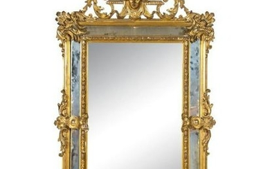 19th C. Large Italian Carved Giltwood Mirror