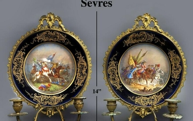 19th C. Sevres Hand Painted Porcelain & Bronze Sconces
