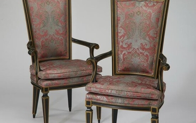 (2) Hollywood Regency silk upholstered armchairs