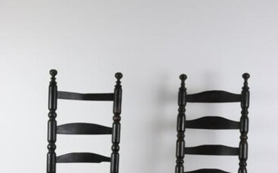 (2) Ladder-Back Side Chairs in Black Paint
