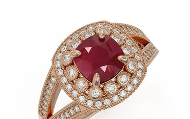 2.69 ctw Certified Ruby & Diamond Victorian Ring 14K