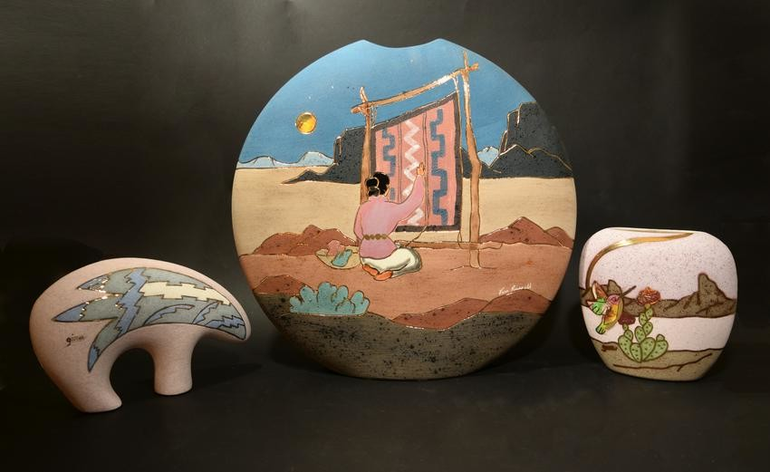 3 Vera Russell Pottery with 22K Gold Accents
