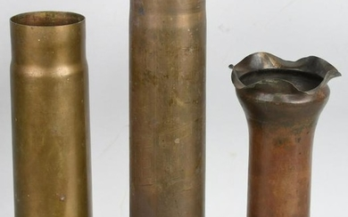3 WWI TRENCH ART SHELLS WITH DECORATIONS