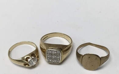 3 gents 9ct and stone set rings. (12.5g).