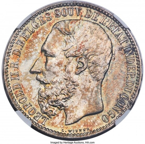 31205: Belgian Colony. Leopold II 5 Francs 1891 MS63 NG