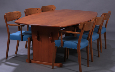 Hans J. Wegner. Six lounge chairs in oak, 1940s, and dining/conference table (7)