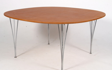 Arne Jacobsen and Piet Hein. Circular dining table, Ø 145 cm, cognac-coloured aniline leather