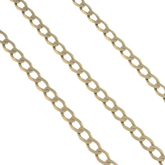 (55195) A 9ct gold necklace and bracelet.Necklace