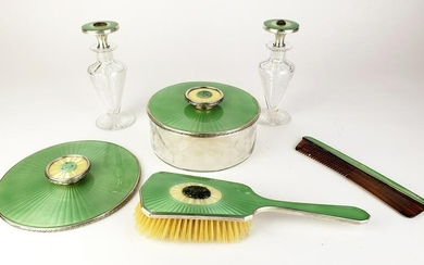 6 Pc. Enamel, Sterling Silver, & Jade Vanity Set
