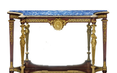A PAIR OF FRENCH ORMOLU-MOUNTED MAHOGANY CONSOLE TABLES, IN THE MANNER OF ADAM WEISWEILLER, LAST QUARTER 19TH CENTURY
