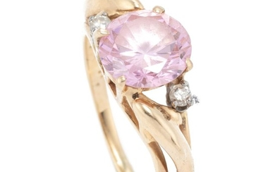 A 14CT GOLD ZIRCONIA AND DIAMOND RING; centring a round cut pink zirconia adjacent to 2 round brilliant cut diamonds, size N, wt. 3....