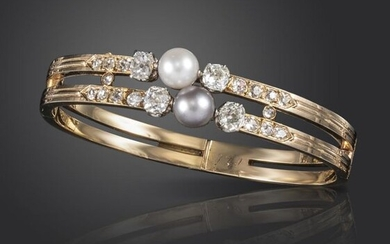 A 19th century French natural pearl and diamond...