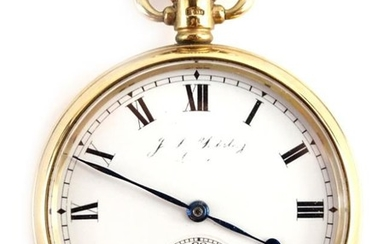 A 9ct gold half hunter pocket watch, with white...