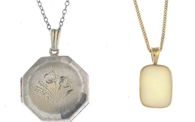 A 9ct gold opal necklace and a silver locket with chain.