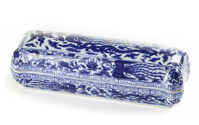 A CHINESE BLUE AND WHITE 'DRAGON AND PHOENIX' PEN BOX