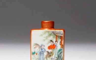 A CHINESE FAMILLE ROSE IRON-RED GROUND SNUFF BOTTLE 19TH CENTURY Of flattened form, painted to one side with two ladies welcoming a gentleman and his horse outside a garden pavilion, the reverse with a scholar and his attendant by a large rock, the...