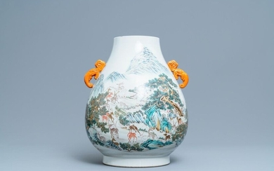 A Chinese famille rose '100 deer' vase, Qianlong mark, 20th C.