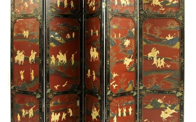 A Chinese lacquered, painted and inlaid five-fold screen