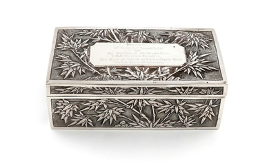 A Chinese silver box, by Wang Hing, rectangular...