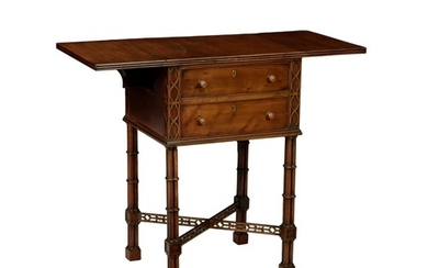 A Chippendale style mahogany two-drawer small Pembroke table...