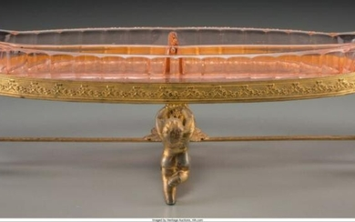 A Continental Etched Glass And Gilt Metal Serving Dish