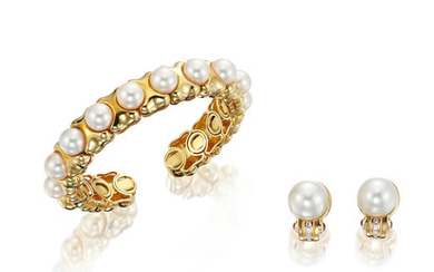 A Cultured Pearl Bangle, and A Pair of Cultured Pearl, Diamond and Ruby Earrings,