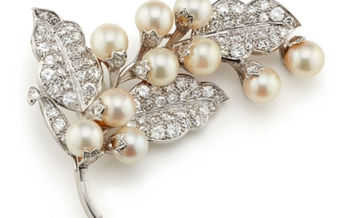 A Cultured Pearl, Diamond and Platinum Brooch