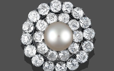 A Cultured Pearl and Diamond Brooch, the central cultured pearl...