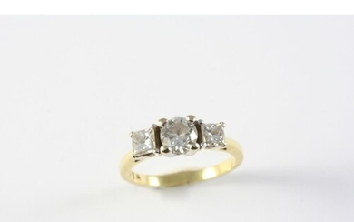 A DIAMOND THREE STONE RING the round brilliant-cut diamond i...
