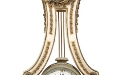 A FRENCH ORMOLU-MOUNTED WHITE MARBLE LYRE CLOCK, LATE 19TH CENTURY, OF LOUIS XVI STYLE