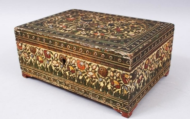 A GOOD 19TH CENTURY INDIAN HAND PAINTED AND CARVED