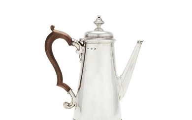 A George I silver straight-tapered coffee pot by Edward Feline