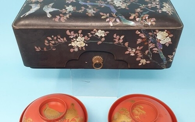 A Japanese lacquered box, 29 cm wide and a pair of Japanese ...