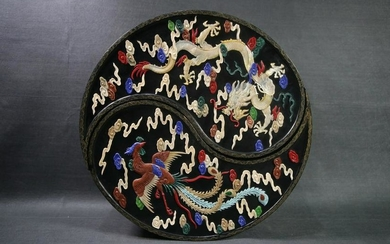A LACQUER CARVED PHOENIX&DRAGON PATTERN BOX