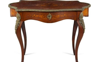 A Louis XV Style Bronze Mounted Marquetry Table a