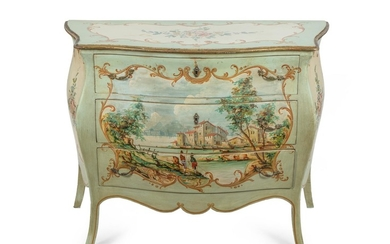 A Louis XV Style Polychromed Bombe Commode