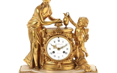 A Louis XVI gilt bronze and white marble figural striking mantel clock. Signed 'Balthazar a Paris'. C. 1770. H. 42 cm. W. 35 cm. D. 16 cm.