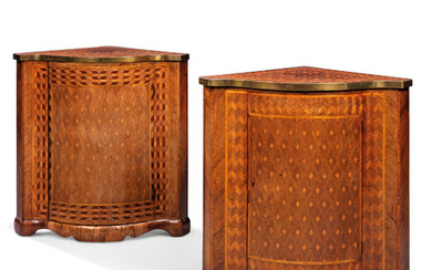 A NEAR PAIR OF ENGRAVED FRUITWOOD PARQUETRY INLAID INDIAN ROSEWOOD, PADOUK AND AMARANTH AND ENCOIGNURES, CIRCA 1770, EITHER FRANCO FLEMISH OR ENGLISH AND MADE BY AN EMIGRE CRAFTSMAN