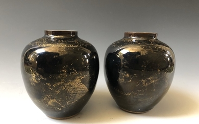 A PAIR OF CHINESE ANTIQUE BLACK GLAZED VASES 19 CENTURY