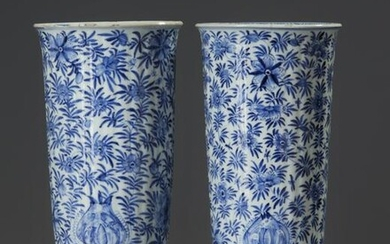 A PAIR OF CHINESE BLUE AND WHITE BEAKER VASES, CHINA