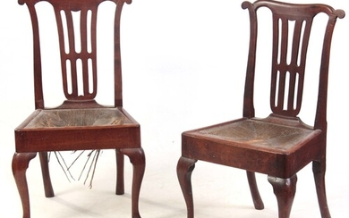 A PAIR OF EARLY 18TH CENTURY SIDE CHAIRS with shaped ears to...