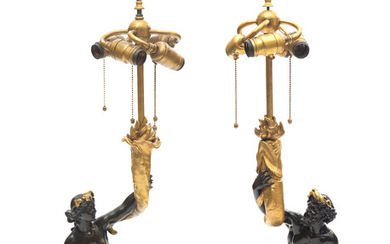 A PAIR OF EXCEPTIONAL AMERICAN BRONZE AND MARBLE LAMP BASES, E.F. CALDWELL & CO., NEW YORK, CIRCA 1915