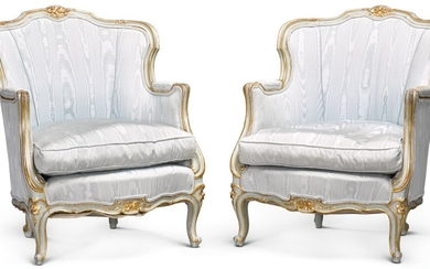 A PAIR OF FRENCH BLUE PAINTED AND PARCEL-GILT BERGÈRES, LOUIS XV STYLE, 19TH CENTURY