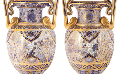A PAIR OF MONUMENTAL BLUE AND WHITE ENGLISH VASES, COPELAND, 1891-1900